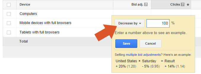 Turn Off Mobile Bids Adwords